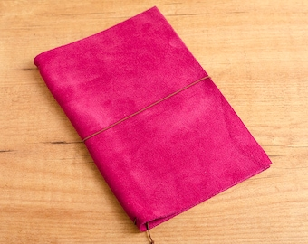 Handmade Leather Traveler's Notebook, Midori style in Regular/Wide size - Cherry Suede