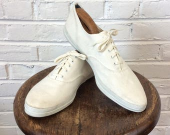 Vintage 1960s NOS Men's Canvas Tennis Shoes. Size 12