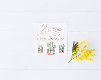 Sorry Card Greeting Cactus Hipster Modern Unique Succulents