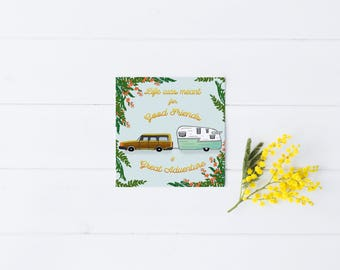 Friend Card Friendship Greeting Camper Camping Flowers Vintage Hipster Modern Flowers