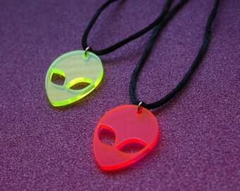 Neon Alien Choker,  Fluorescent Alien Necklace, Acrylic Alien Choker, Yellow & Pink Choker, Leather / Satin Silk Cord Retro 90s / For Her