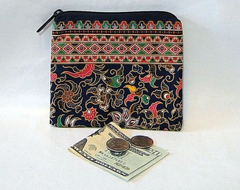 Coin Purse, Change Purse, Indonesian, Zipped Bay, Navy, Floral Print, Coin Pouch