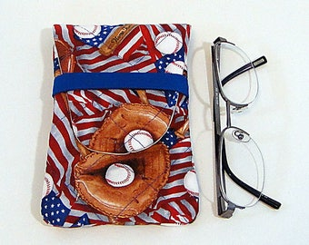 Eyeglass Case, Baseball, Sunglass Case, Man's Eyeglass Case, Quilted Case, Fabric Case, Red, Blue