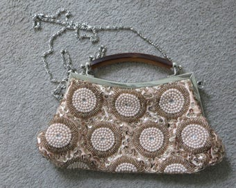 1950s/1960s Vintage pink silver gold sequinned, beaded and embellished handbag with tortoiseshell handle