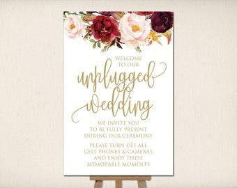 "Instant Download, Unplugged Wedding Sign 24""x36"", Print Ready Wedding Sign, Wedding Decor Template, DIY Printable PDF JPEG (UWP24) Bernice"