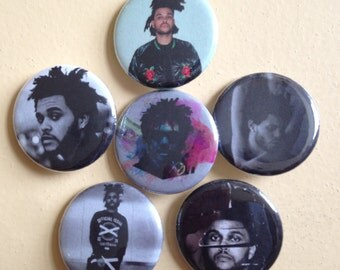 """The Weeknd pin back buttons 1.25"""" set of 6"""