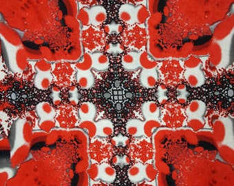 100% cotton Quilting fabric by the 1/2 yard truly abstract red with white and black. Large print think stack and whack