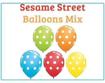 "Sesame street polka dot Print 11"" Balloons birthday party decorations red , yellow, orange, blue, lime"