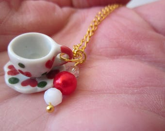 Miniature Doll house TEA CUP & saucer PORCELAIN pendant adorned w. fx pearl and swarovski crystal bead w Gold Plated chain
