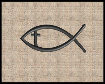 Ichthys Jesus Fish with Cross Embroidery Design Machine Embroidery Design Ithaca Embroidery Design