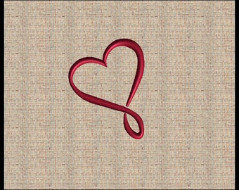 Valentine Infinity Heart Embroidery Design Satin Stitch Fill Stitch Heart Machine Embroidery Design