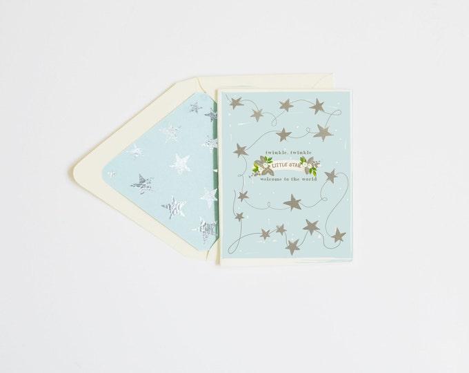 Twinkle Twinkle, Little Star Blue w silver foil stars