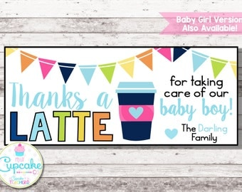 Thanks a LATTE Printable Thank You Card | Thank You Note for Coffee Gift | Thank You a Latte | Labor & Delivery Gift | Nurse Gift | Digital