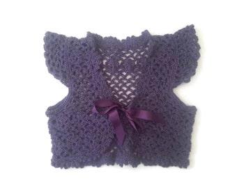 Pure French baby alpaca lace baby sweater, royal purple cardigan, luxury wool baby bolero, baby girl shower gift. Newborn 0-3-6 months