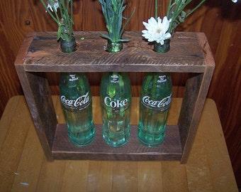 Vintage Coca-Cola Coke Bottle and Oak Bud Vase Flower Display