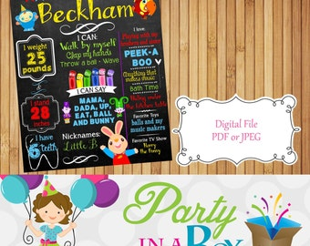Custom Baby First TV Birthday board, chalkboard Poster Board Sign Printable photo prop