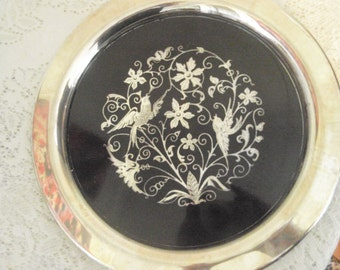 Silver Tray with Enamel inlay, Oneida silver plate tray with Black enamel bird and flowers design, silver serving tray, 12 in. round tray