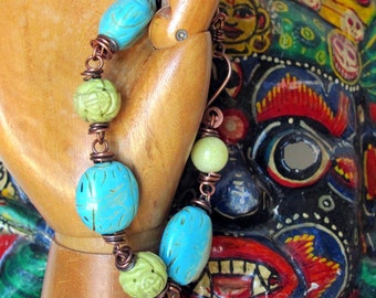 Chunky stone bracelet, oxidized copper wire wrapped stone bracelet boho Bohemian bracelet turquoise and copper jewelry