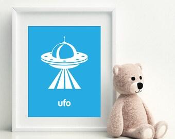 UFO Space Nursery Art Print - art poster - nursery art - child's room decor, playroom print
