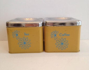 Wonderful Vintage Tin Tea And Coffee Retro Canisters / 1960u0027s Midcentury Modern  Kitchen Canister Set