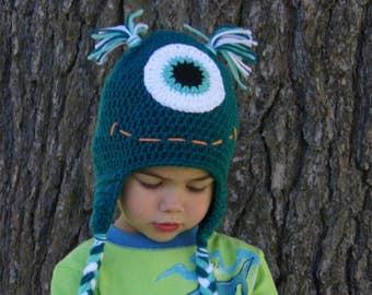 Monster Hat - One Eyed Monster Hat - Boy Monster Hat - Girl Monster Hat - Baby Hat - Child Hat - Adult Hat- Crochet Hats for Kids