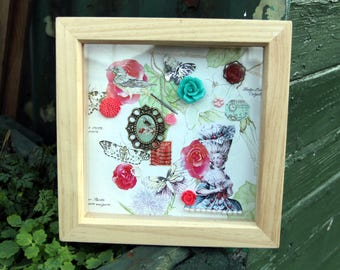 Pretty Marie Antoinette Framed Picture with found objects, Flowers, Cameo, Stamp, Butterflies, Palace of Versailles, Paris, Collage, Pretty