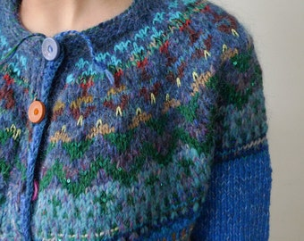 Handmade Icelandic style striped and bright cardigan
