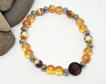 Golden Plum Bohemian Bracelet - Golden Bracelet - Plum Bracelet - Bohemian Bracelet