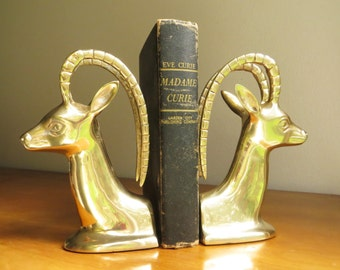 Vintage Brass Antelope Bookends, Brass Figurines, Brass Bookends, Hollywood Regency, Impala Bookends, Gazelle, Ram, Mid Century Bookends