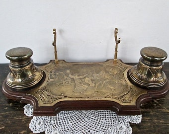 Sale Wonderful Brass and Wood Inkwell with Pen Holder