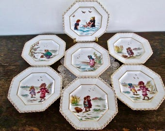 Set of Seven Adorable Children's Nursery Rhyme Plates