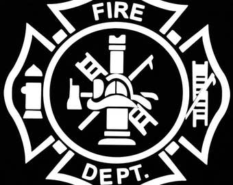 """White Fire Department Graphic Firefighter Logo Window Decal 5"""" x 5"""""""