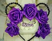 Ursula glitter rose Minnie mouse ears, floral crown, flower, the little mermaid, villain, Disneyland, Disney, plur, kandi, rave, EDC,