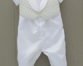 Boys christening, baptism, blessing outfit with quilted vest