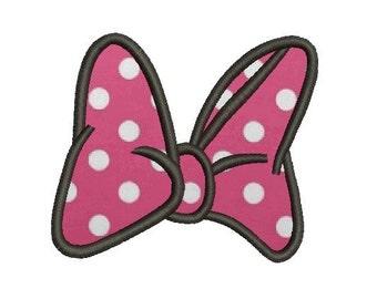 mini mouse bow applique embroidery design