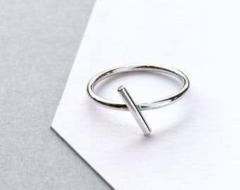 Sterling SILVER Minimalist Ring. Silver Bar Ring. Geometric Ring. Minimal Simple 925 Silver Modern Ring / Symbols Series. Skinny SILVER Ring