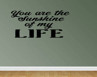 Wall Decal You Are The Sunshine Of My Life Vinyl Lettering Home Decor Nursery Decor Words Stickers Decals (PC332)