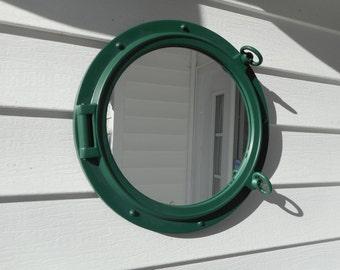Green 15 inch ship port hole / porthole mirror / beach decor / nautical decor