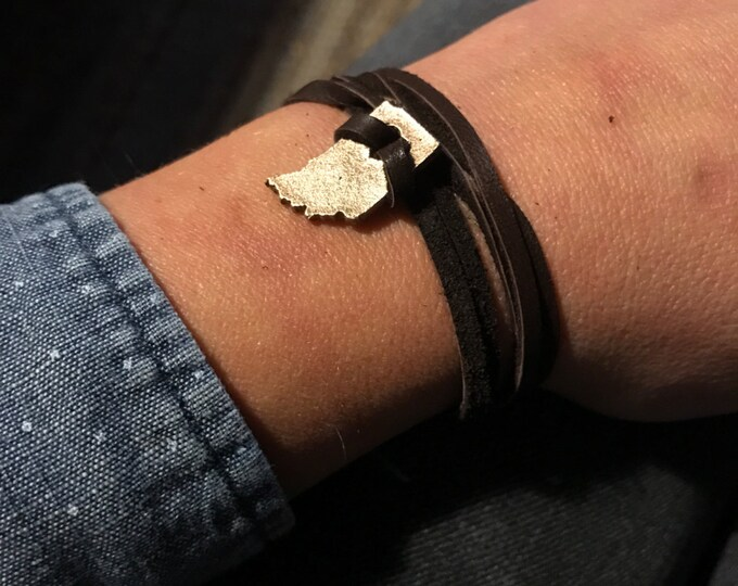 Indiana States of Love Leather Wrap Bracelet IN - Bronze Reserved for Tory R