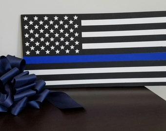 Thin Blue Line Flag Police Officer Wood Wall Plaque Wall Decor / Wood Signs / Wood Wall Art / Wooden