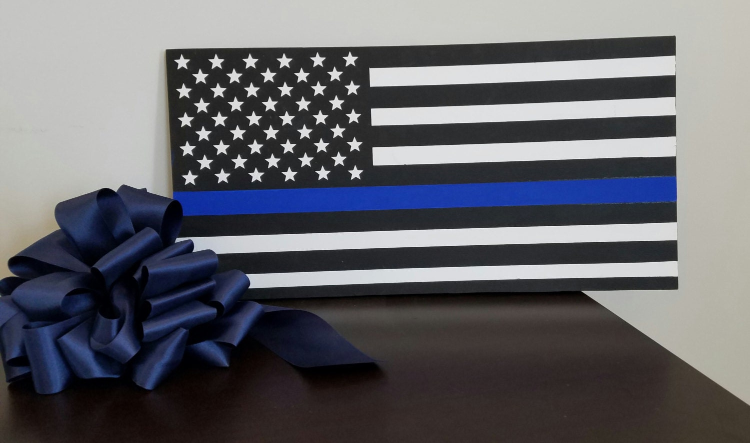 Personalized firefighter ornaments - Thin Blue Line Flag Police Officer Wood Wall Plaque Wall Decor Wood Signs Wood