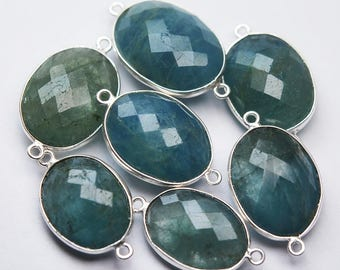 925 Sterling Silver Aquamarine Faceted Oval Shape Connector Pendant,2 Piece of 26-28mm