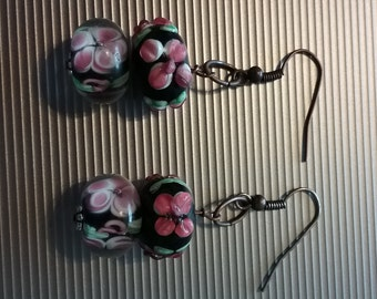 Black, Pink And Green Floral Beaded Earrings 8