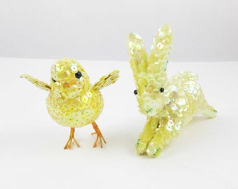 A Pair of Easter Figures - Yellow Bunny and Chick - Sequin Bead-covered - Easter Bunny - Easter Chick - Yellow Chick - Satin-lined Bunny