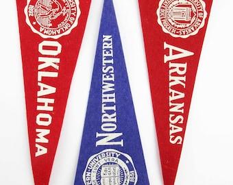 Three Vintage University Pennants - Wool Felt Pennants - Arkansas - Oklahoma - Northwestern - With University Emblems