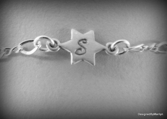 Sterling silver anklet, celestial star anklet/bracelet, star jewelry, Initial & star bracelet