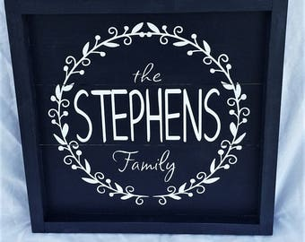 Custom family name sign, Last Name sign, wedding gift, anniversary gift, slat sign, box sign, Photo gallery sign