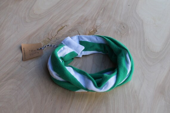 Baby Infinity Scarf Bib in striped green and white, Hipster Style Baby Bib, Jersey Knit Fabric and Plastic Snaps, Babies and Toddlers