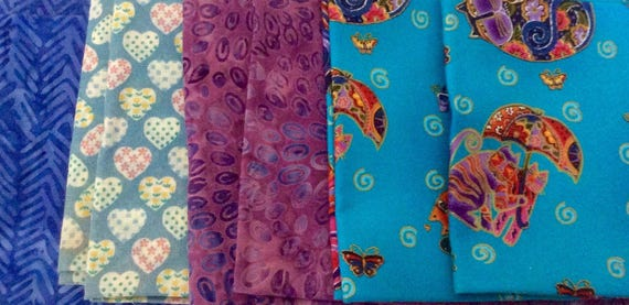 Fat Quarter Bundles For Quilting - 8 Fat Quarter Cotton Fabric Bundles - Quilt Fabric, Laurel Burch, Batik, Hearts