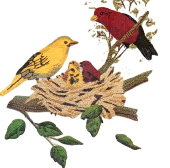 Vintage Avon Crewel Embroidery Kit, Scarlet Tanagers Birds Wall Art, FREE Shipping USA